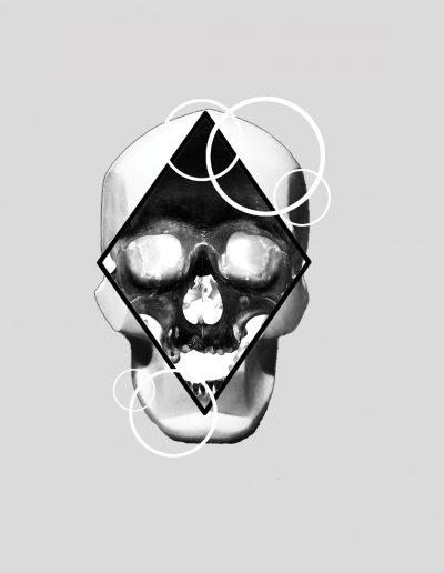 negative skull flash tattoo