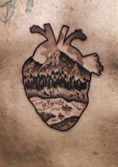 snow-mounten heart dottinfg
